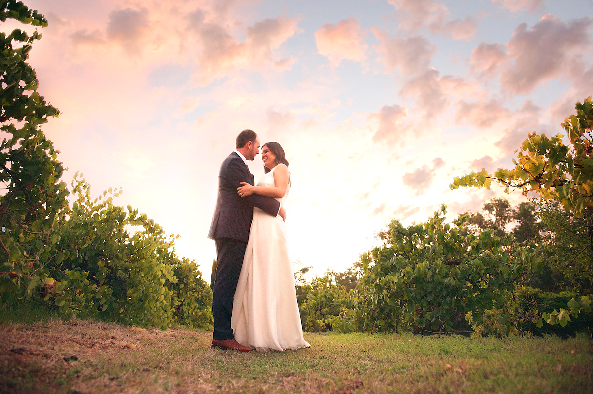 Adam &amp; Millie Perth Wedding Vineyard Sunset