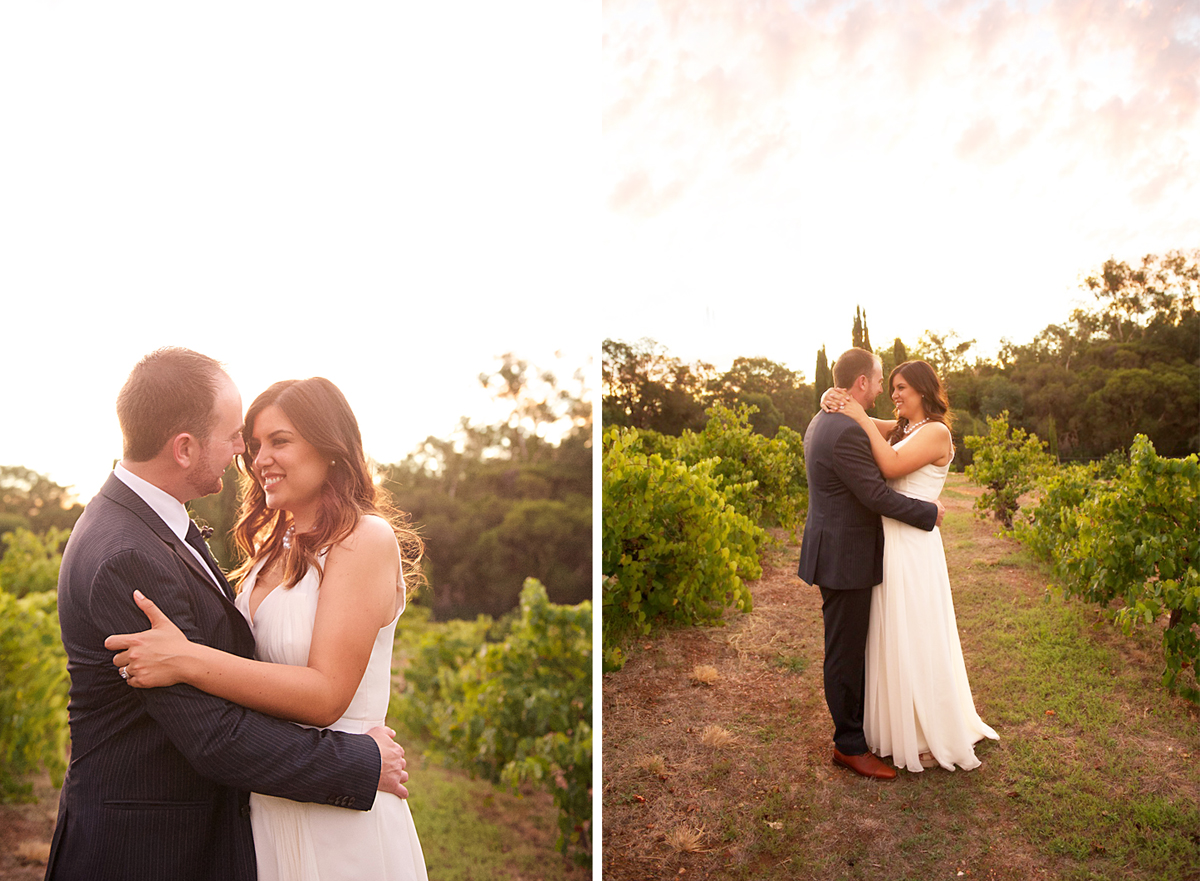 Adam & Millie wedding photo vineyard sunset