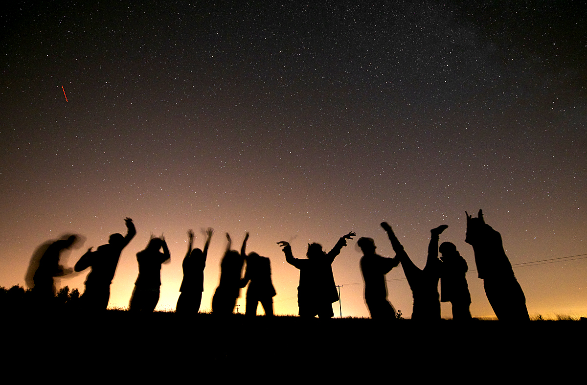 Group shot meteor storm Colchester messing around small