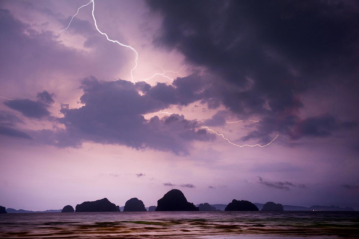 Krabi lightning thunder storm Thailand