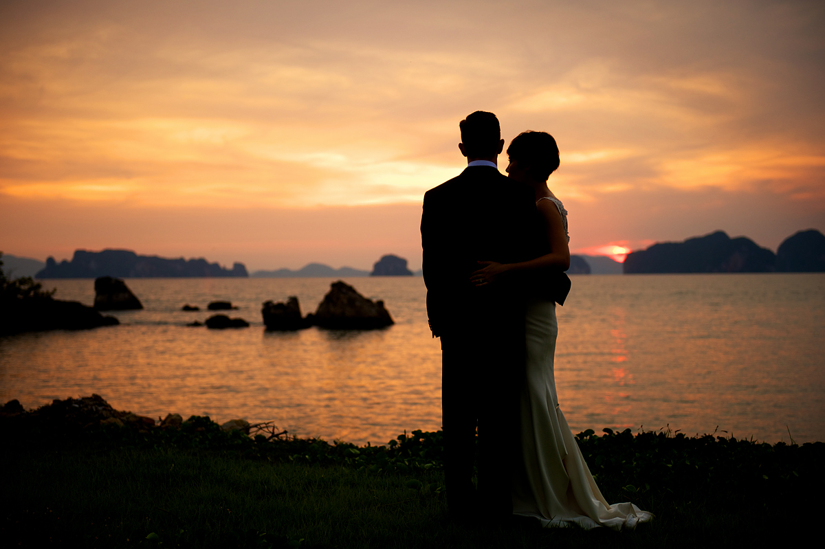 Phulay Bay Krabi Wedding sunset silhouette