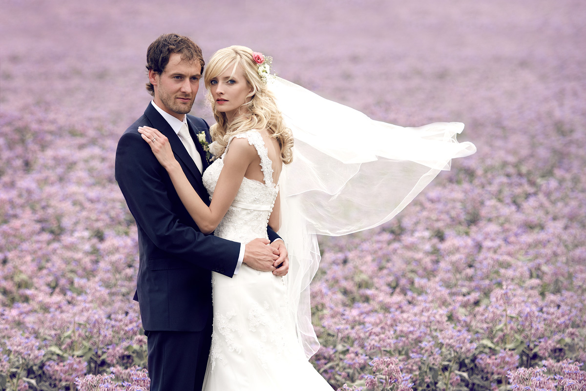 Lavender field wedding photo Will & Rachel